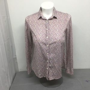 J. Crew Perfect Shirt Printed Size M Button. A0620